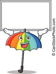 dessin animé, planche, arc-en-ciel, caractère, haut, élevé, parapluie, heureux