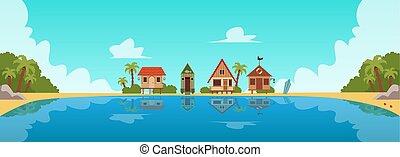 dessin animé, plat, illustration., recours, invité, maisons, plage, ou, pavillons, vecteur