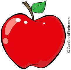 dessin animé, pomme rouge