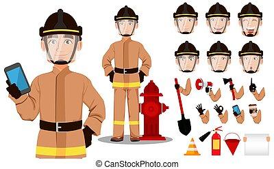 dessin animé, pompier, caractère