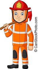 dessin animé, pompier, hache, tenue