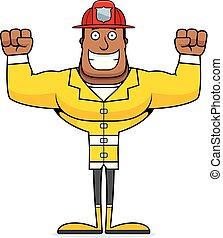 dessin animé, pompier, sourire