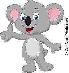 dessin animé, poser, koala, mignon