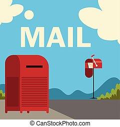 dessin animé, postal, rue, boîtes lettres, service