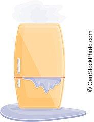 dessin animé, réparation, icône, profond, réfrigérateur, style