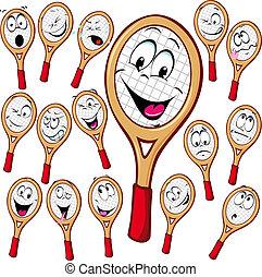 dessin animé, raquette tennis