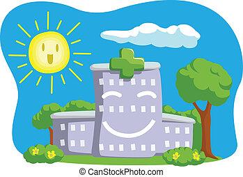 dessin animé, rigolote, bâtiment, hôpital