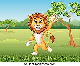 dessin animé, rigolote, lion, onduler