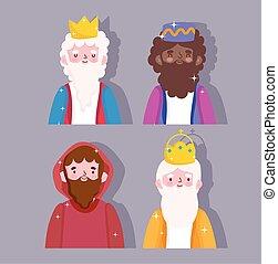 dessin animé, rois, nativité, sage, caractères, jospeh, mangeoire