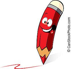 dessin animé, rouges, écriture, crayon