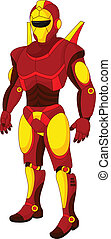 dessin animé, rouges, humanoïde, robot