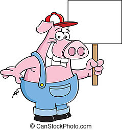 dessin animé, s, salopette, tenue, cochon