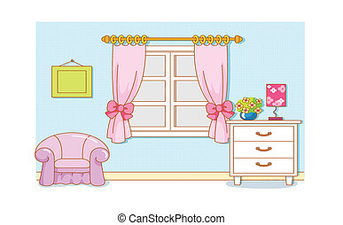 dessin animé, salle