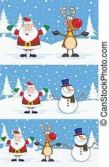 dessin animé, santa, caractères, claus, renne, bonhomme de neige
