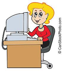 dessin animé, secrétaire