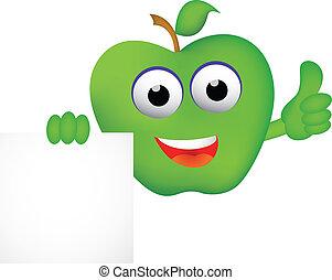 dessin animé, signe, pomme, vide, rigolote