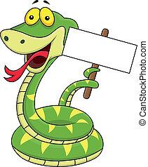 dessin animé, signe, serpent, vide