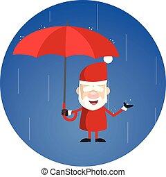 dessin animé, simple, debout, pluie, parapluie, -, santa
