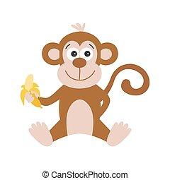 dessin animé, singe, blanc, mignon, banane, arrière-plan.