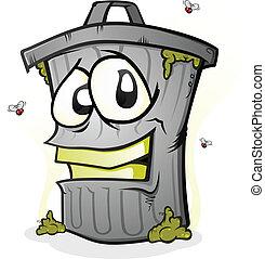 dessin animé, sourire, boîte, caractère, déchets ménagers
