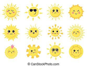 dessin animé, sourire, dessiné, mignon, heureux, soleils, sun., caractères, vecteur, illustration, symboles, main, briller, soleil brillant, ensemble, ensoleillé