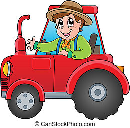 dessin animé, tracteur, paysan