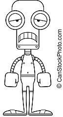 dessin animé, triste, robot, maillot de bain