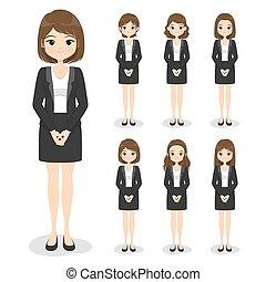 dessin animé, uniforme, main, style., jeune fille, cheveux, vêtements, femme, illustration., plat, bureau, formel, poses, suit)., (dress, business, vecteur
