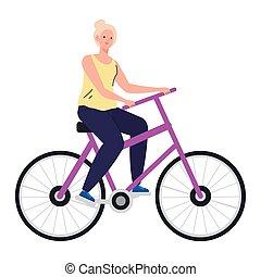 dessin animé, vélo, personne âgée femme, conception, vecteur, équitation
