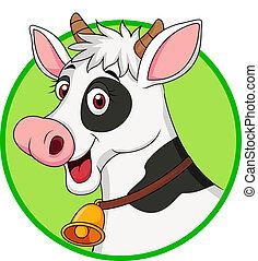 dessin animé, vache, mignon