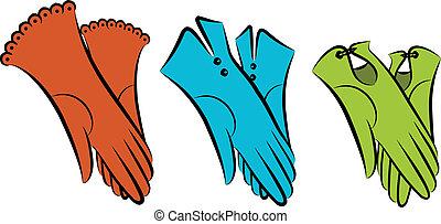dessin animé, vendange, femme, gloves.