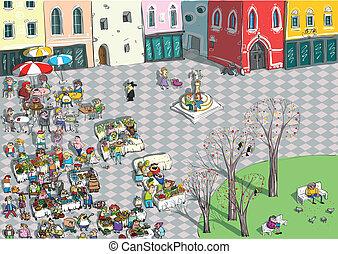 dessin animé, vibrant, ville, carrée