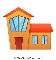 dessin animé, village, petite maison, icône, style