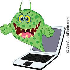 dessin animé, virus, ordinateur portable