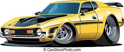 dessin animé, voiture, retro
