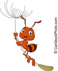 dessin animé, voler, pissenlit, fourmi, mignon