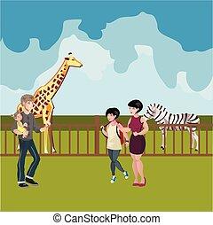 dessin animé, zoo, animaux, scène, gens