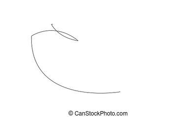 dessin, arrière-plan., bird., soi, animation, cygne, space., copie, blanc