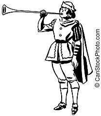 dessin, jouer, renaissance, version, noir, époque, blanc, corne, trompette, ou, homme