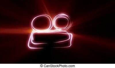 dessin ligne, appareil photo, symbole, néon