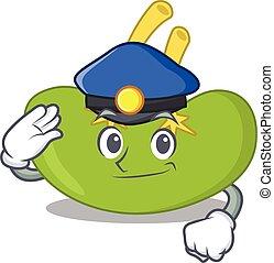 dessin, officier, bleu, porter, dessin animé, police, rate, chapeau