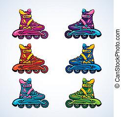 dessin, rouleau, skate.