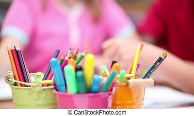dessin, sourire, élèves