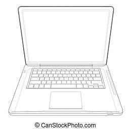 dessin, vecteur, laptop., illustration, contour