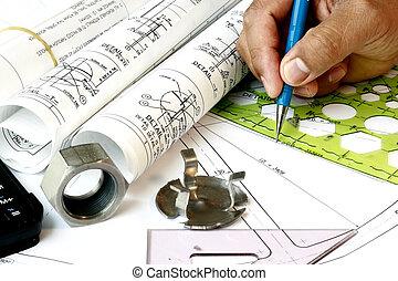 dessinateur, plans, ingénierie