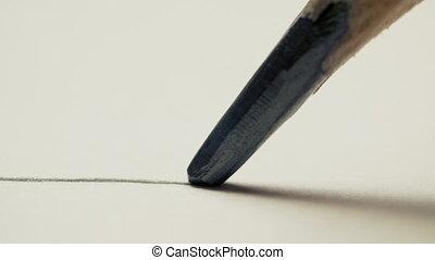 dessine, macro, blanc, graphite, coup, directement, crayon, ligne, papier, fond