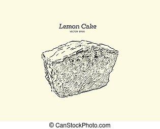 dessiner, citron, fait maison, croquis, sucre, glaze., vector., graines, gâteau, pavot, main