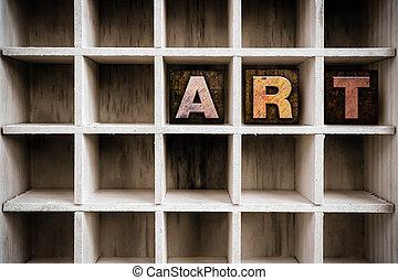 dessiner, concept, art, letterpress, bois, type