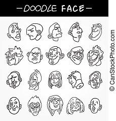 dessiner, ensemble, icônes, gens, main, figure