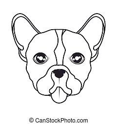 dessiner, icône, chien, main, figure